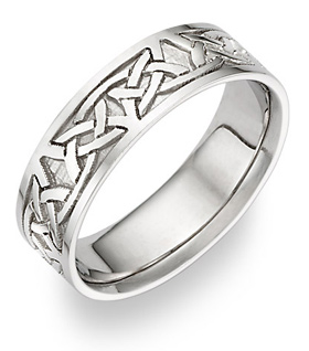 Celdwin Celtic Wedding Band, 14K White Gold