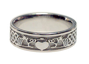 Claddagh Celtic Band Ring - 14K White Gold