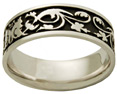14K White Gold Antiqued Celtic Wedding Band Ring