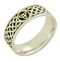 Celtic Trinity Knot Wedding Band Ring - 14K White Gold