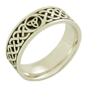 Buy Celtic Trinity Knot Wedding Band Ring – 14K White Gold