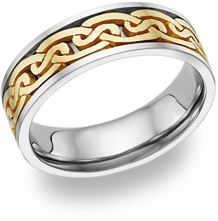 Buy Celtic Wedding Band, 14K Two-Tone Gold