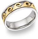Celtic Spiral Wedding Band - 14K Two-Tone Gold