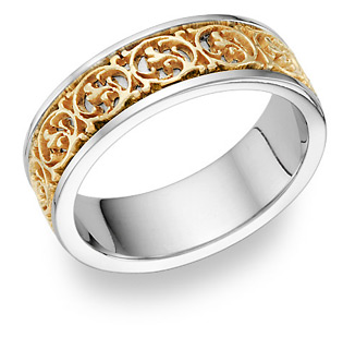 Celtic Design Ring - 14K Two-Tone Gold