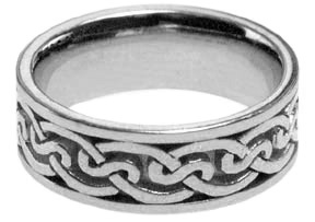 14K White Gold Celtic Knot Wedding Band Ring