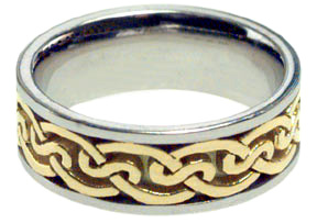 Celtic Knot Ring - 14K Two-Tone Gold