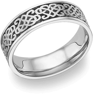 18K White Gold Celtic Heart Love Knot Wedding Band Ring