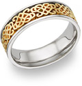 18K Two-Tone Gold Celtic Heart Knot Wedding Band Ring