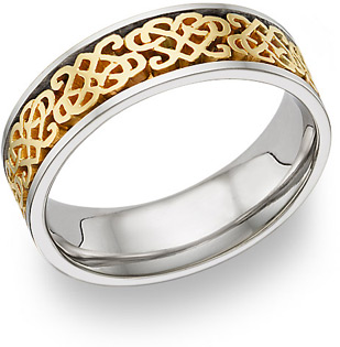 Celtic Heart Knot Wedding Band Ring, 14K Two-Tone Gold