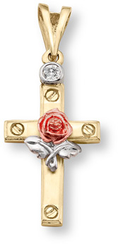 14K Tri-Color Gold Rose Cross Pendant