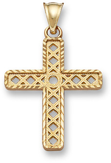 14K Gold Hugs and Kisses Cross Pendant
