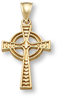 Women's Celtic Cross Pendant, 14K Gold