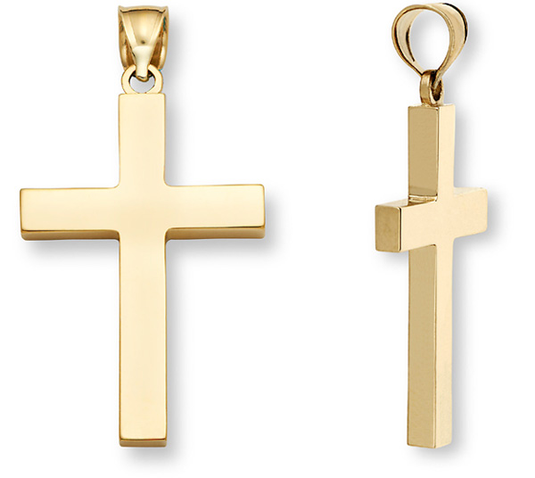 18K Fully Solid Gold Men's Large Cross Pendant
