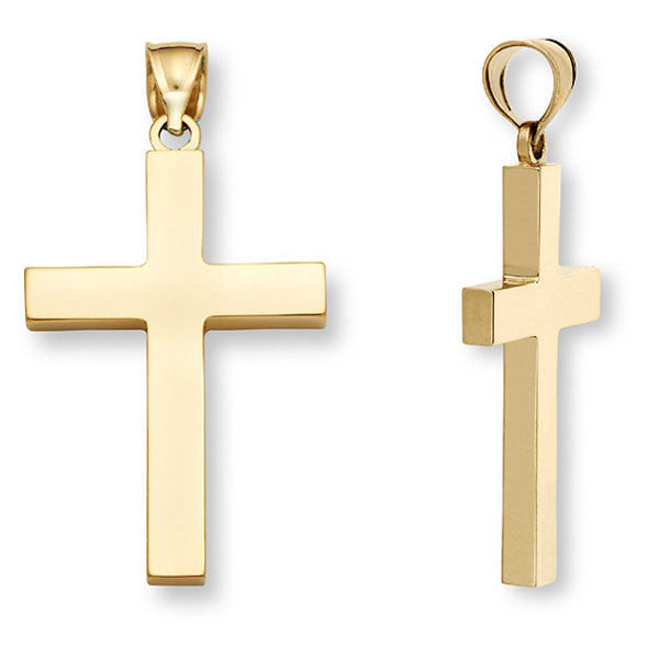 14K, 18K, 22K Plain Solid Gold Cross Necklaces for Men