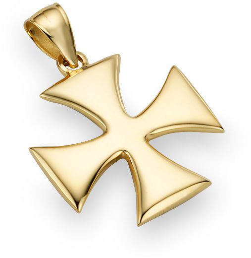 Holy Warrior Cross Pendant, 14K Yellow Gold