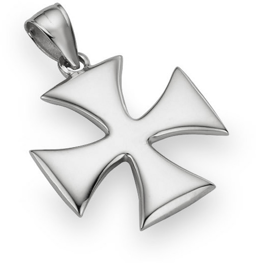 Holy Warrior Cross Pendant, 14K White Gold