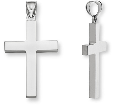 Plain 14K White Gold Women's Cross Pendant