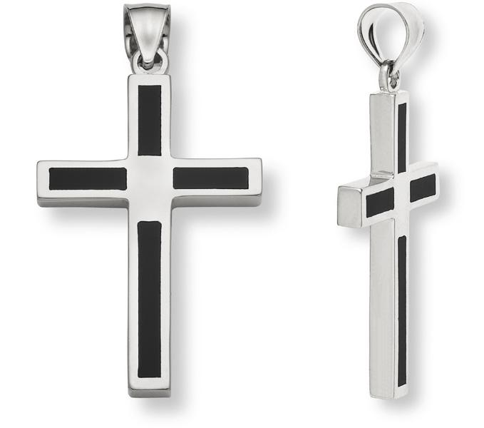Sterling Silver Black Onyx Cross Pendant for Men