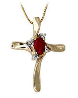 10K Gold Ruby Cross Diamond Pendant