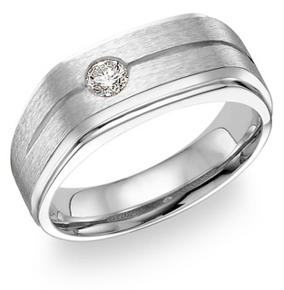 14K White Gold Men's Diamond Ring (0.25 Carats) (Apples of Gold)