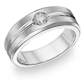 Buy 14K White Gold Men's Diamond Ring (0.37 Carats)