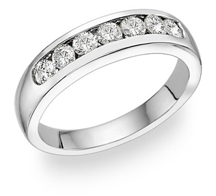14K White Gold Men's 7 Stone Diamond Ring (0.85 Carats)