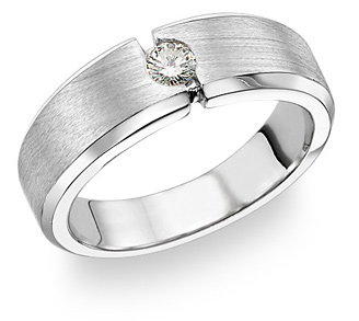 14K White Gold Men's Diamond Band Ring (0.18 Carats)