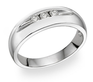 14k White gold Men's 3 Stone Diamond Ring