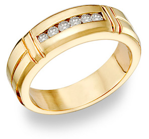 Buy 14K Gold Men's 0.45 Carat Diamond Wedding Band