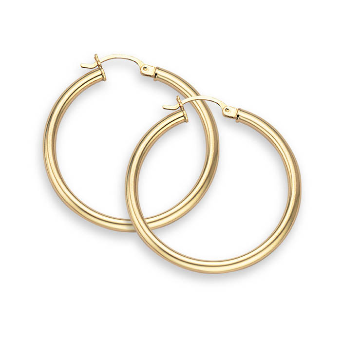 Buy 14K Gold Hoop Earrings – 1″ diameter (3mm thickness)