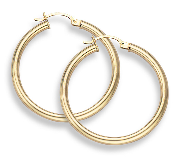 14K gold Hoop Earrings 1 3/16