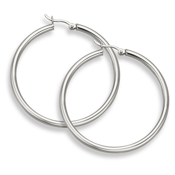 14K White Gold Hoop Earrings - 1 9/16