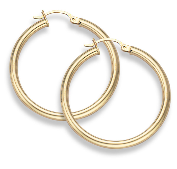 Buy 14K Gold Hoop Earrings – 1 1/2″ diameter (3mm thickness)