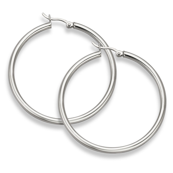 Sterling Silver Hoop Earrings - 2 5/16