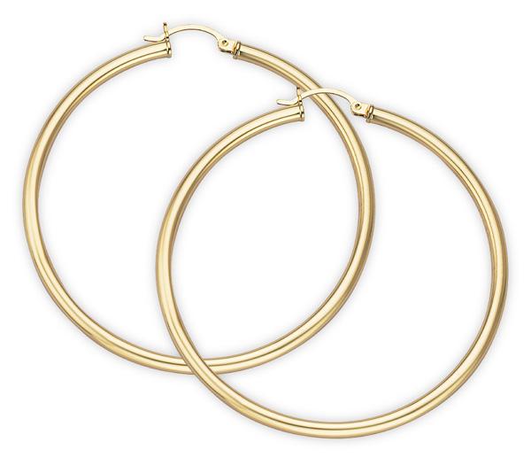 14K Gold Hoop Earrings - 1 3/4
