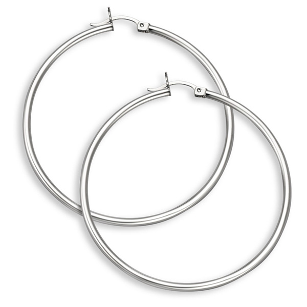 14K White Gold Hoop Earrings - 2 1/16