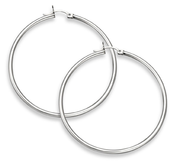 14K White Gold Hoop Earrings - 1 3/4