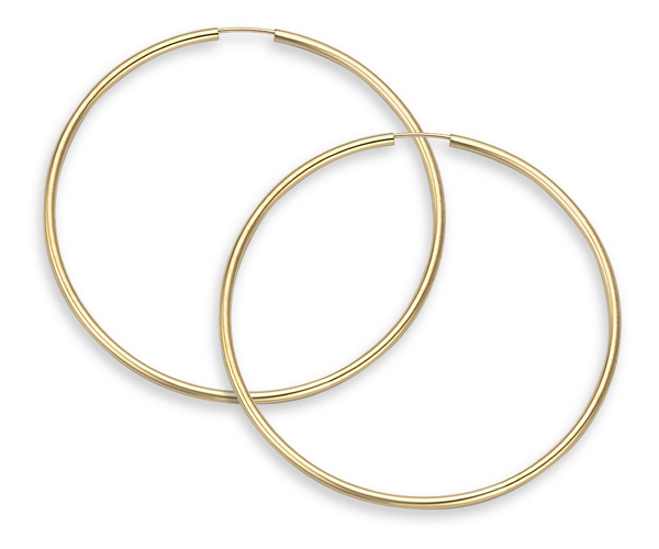 Buy 14K Gold Hoop Earrings – 1 3/4″ inch diameter (2mm thickness)