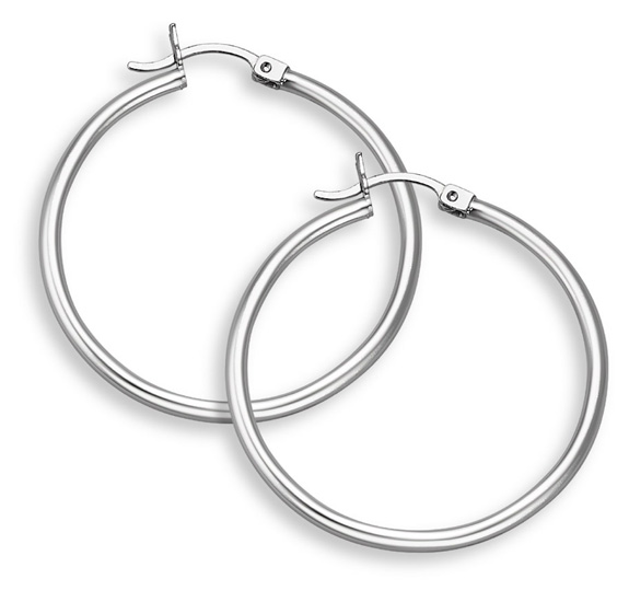 14K White Gold Hoop Earrings, 1 3/8