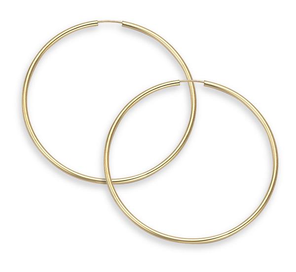 14K Gold Hoop Earrings - 1 1/2