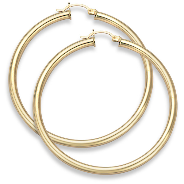 Buy 14K Gold Hoop Earrings – 2 5/16″ diameter (4mm thickness)