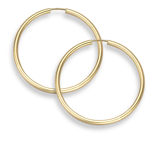 14K Gold Hoop Earrings - 1 3/16