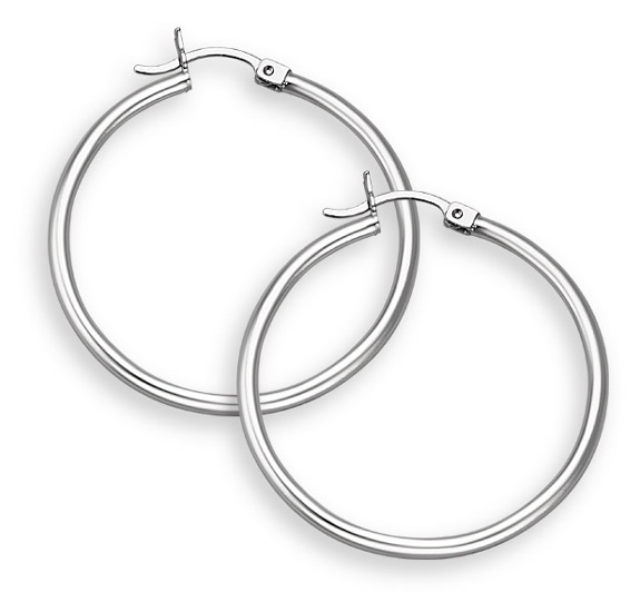 14K White Gold Hoop Earrings - 1
