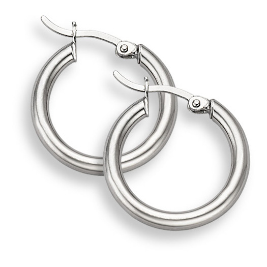 14K White Gold Hoop Earrings - 3/4