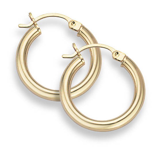 Buy 14K Gold Hoop Earrings – 3/4″ diameter (3mm thickness)