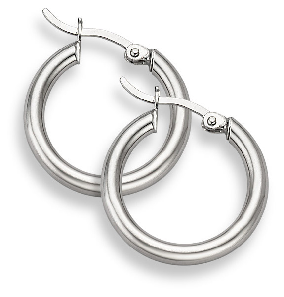 14K White Gold Hoop Earrings - 7/8