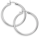 14K White Gold Hoop Earrings - 1 1/4