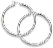 Sterling Silver Hoop Earrings - 2 5/16