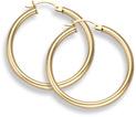 14K Gold Hoop Earrings - 1 3/16