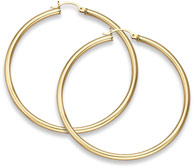 14K Gold Hoop Earrings - 2 1/8